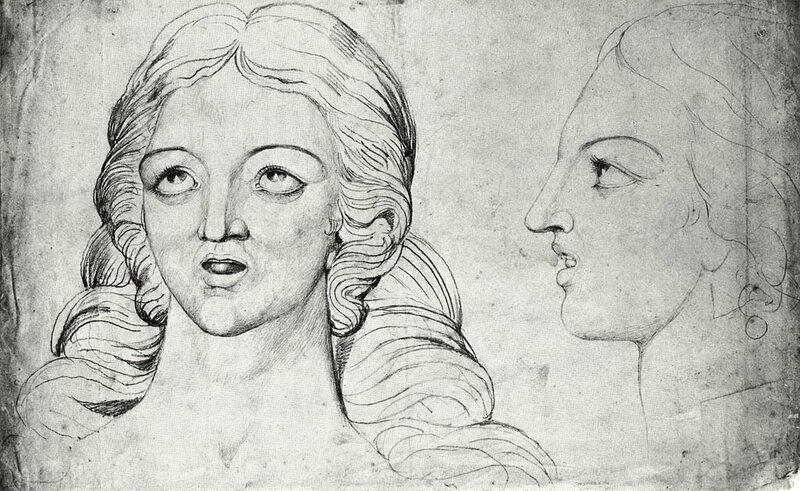 """Corinna the Rival of Pindar"" and ""Corinna the Grecian Poetess"" from the Blake-Varley Sketchbook"