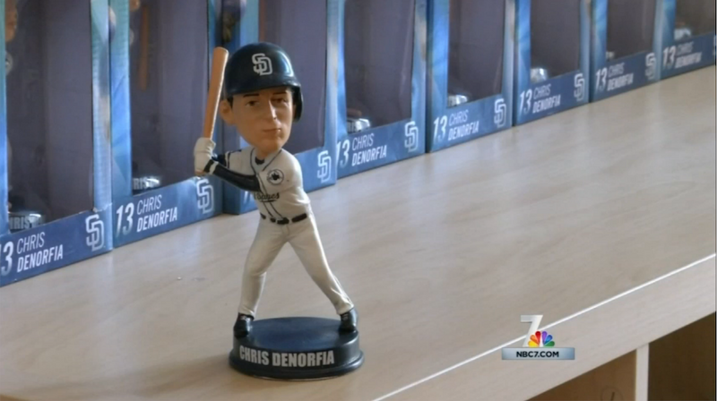 One Chris Denorfia bobblehead–about 0.15% of the original haul.