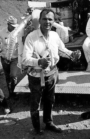 Astrogeologist Gene Shoemaker wearing a Bell Rocket Belt while training astronauts (1950s)