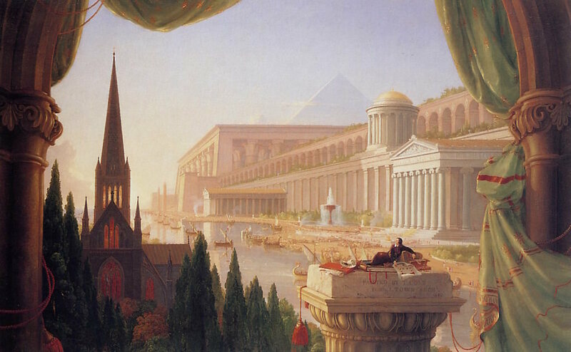 The Architect's Dream by Thomas Cole (1840) shows a vision of buildings in the historical styles of the Western tradition, from Ancient Egypt through to Classical Revival