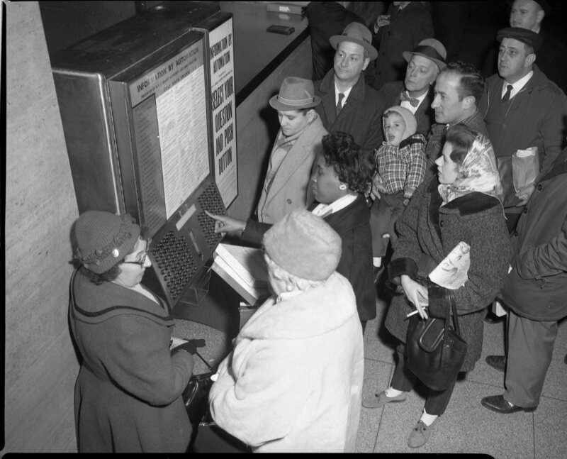 "By 1961, an ""Information by Automation"" machine, called a Directomat was installed in the lobby of 370 Jay Street."