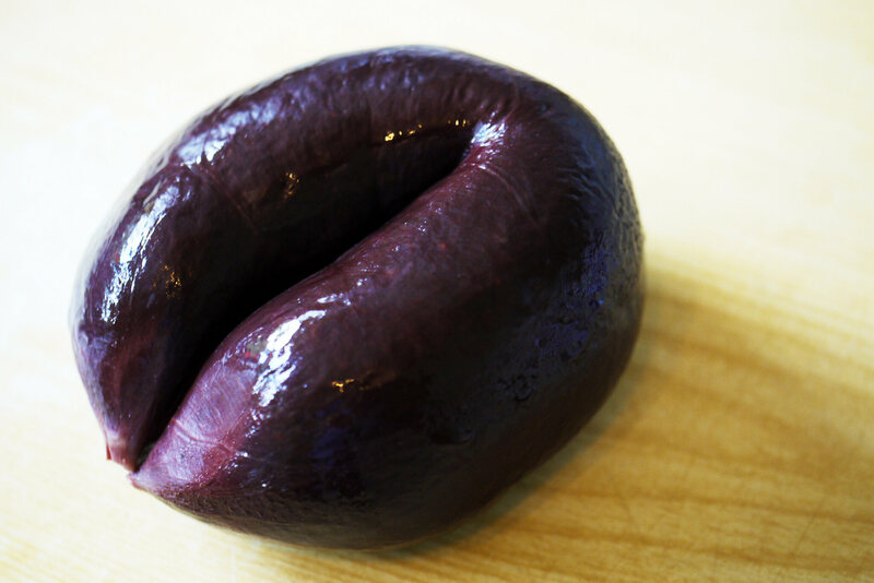 Black pudding, a type of blood sausage.