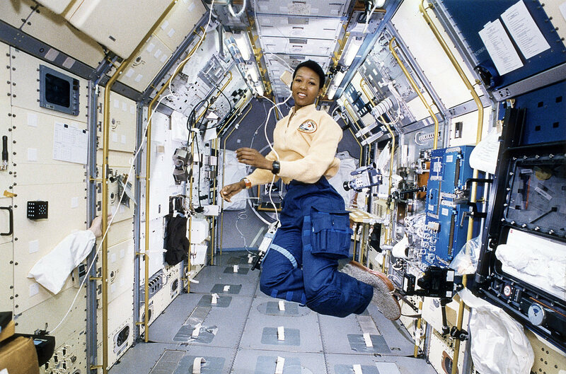 Space Shuttle Endeavour (STS-47) onboard photo of Astronaut Mae Jemison working in Spacelab-J module.