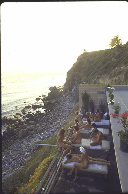 Nude couples on balcony at the Esalen, 1970