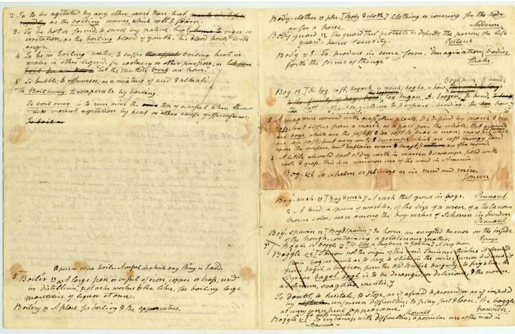 Handwritten drafts of dictionary entries written by Noah Webster, c.1790