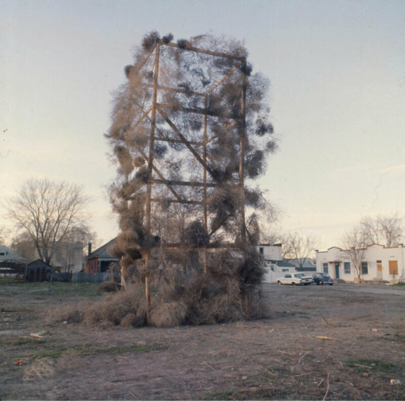 "A ""tumbleweed catcher"" does its job in Salt Lake City in 1972."