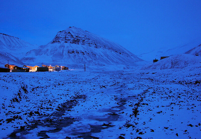 Svalbard, Norway/ you get a blue light much of the time during the days of the polar night.