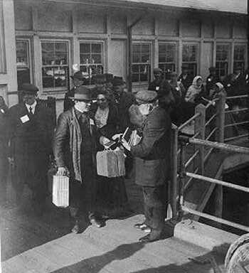 representative of the New York Bible Society distributing bibles and religious literature to the emigrants at Ellis Island, New York City