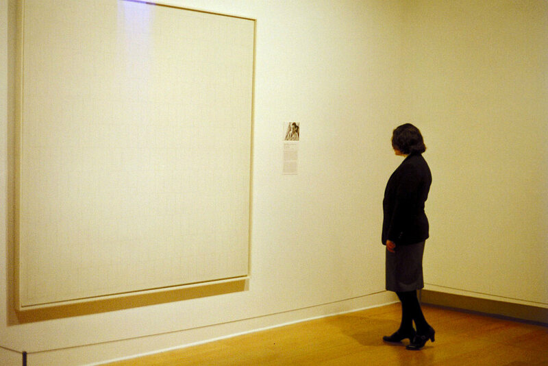 A guard examines her charge at the Norton Simon Museum in Pasadena.