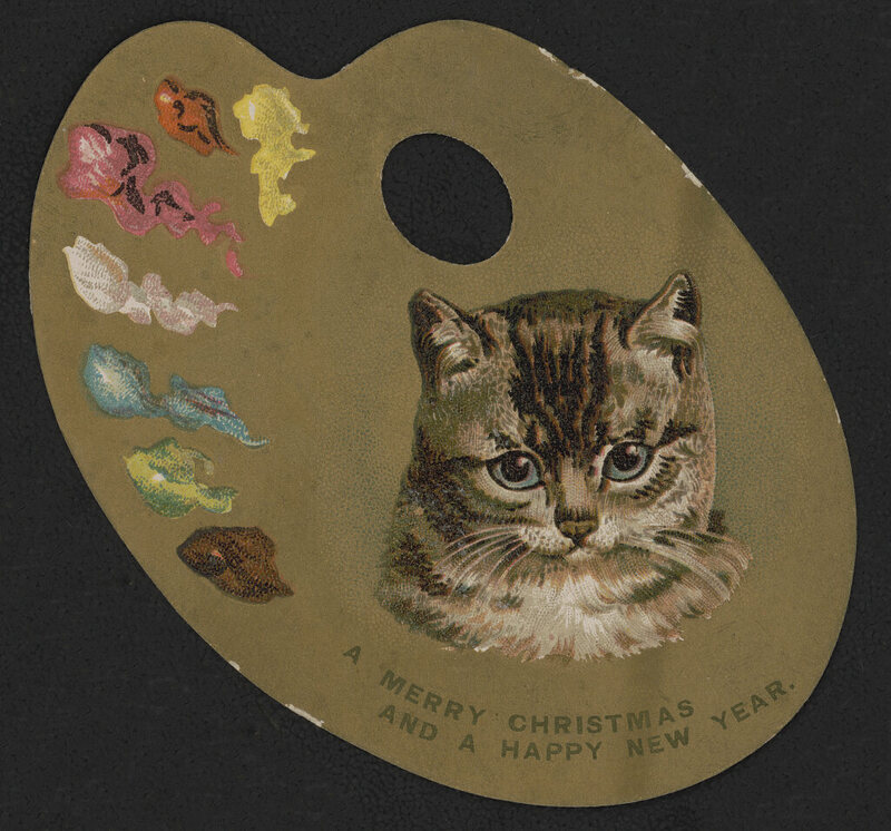 Print shows a late Victorian die-cut trade/greeting card showing a gilded painter's palette with paints on the left and the head of a kitten
