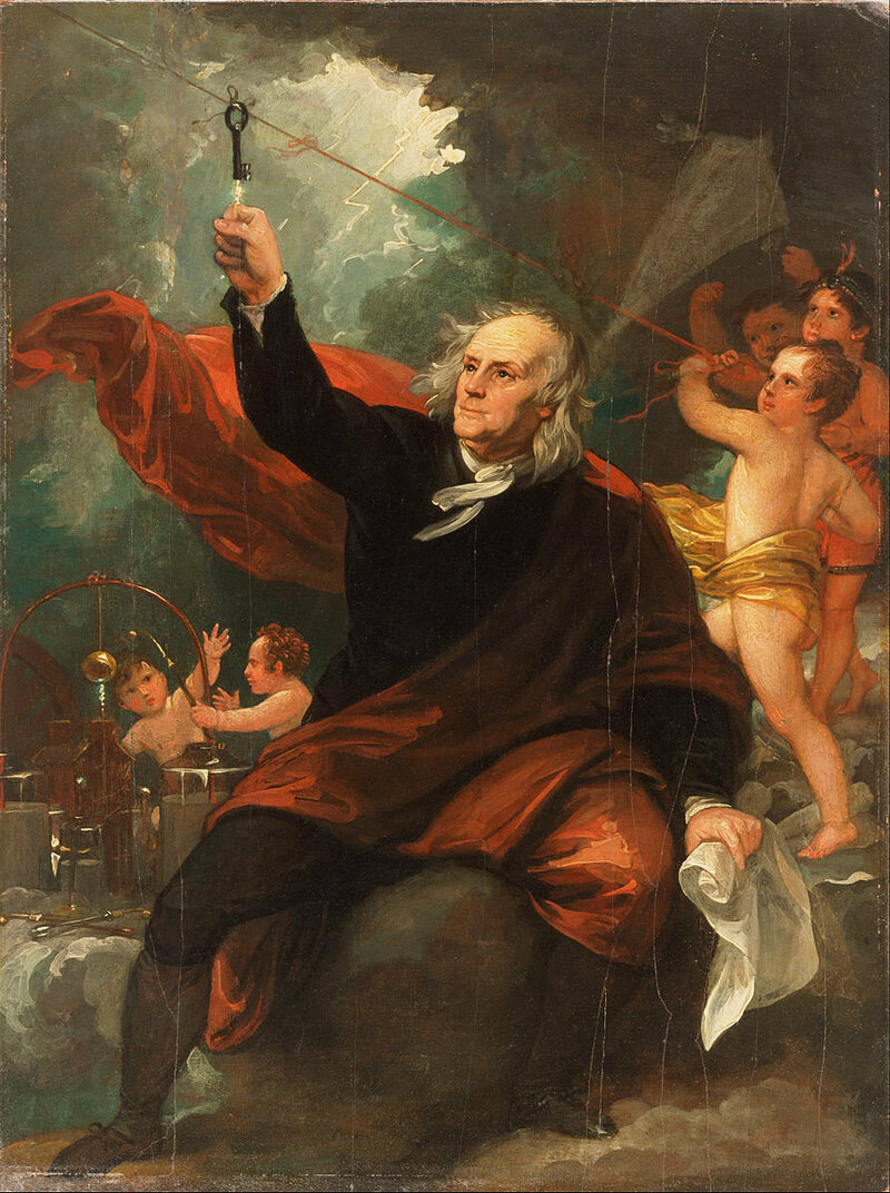 Franklin flies his fateful kite–while angels that look suspiciously his younger self repeat some of his earlier electrical experiments in the background.