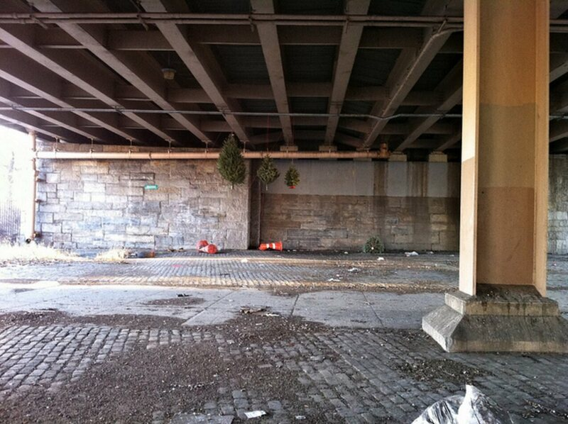 A Suspended Forest prototype, under the BQE in January 2012.