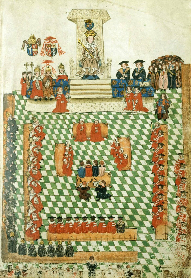 This 1523 illustration of the opening of British Parliament is the earliest rendering of a Speech from the Throne.