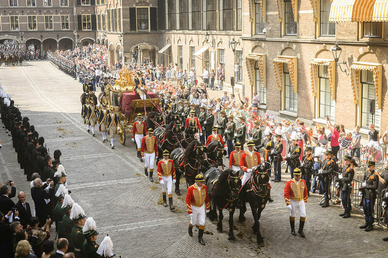 Norway's Golden Carriage rolls through the streets during Prinsjesdag, the monarch's traditional speechmaking day.