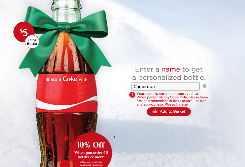 A screenshot of a failed Share a Coke attempt, taken on November 24th, 2015.