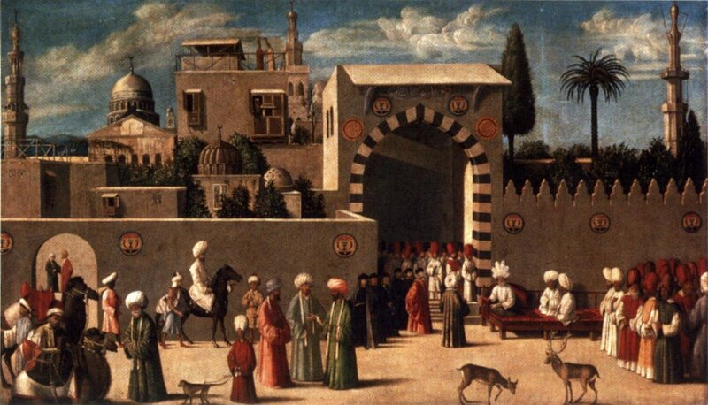 """The Reception of the Ambassadors in Damascus,"" an anonymous Venetian painting from 1511, sets the scene with a palm."