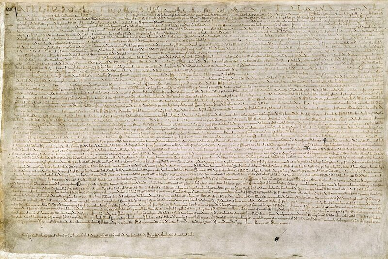 The Magna Carta, printed on vellum in 1215 and held in the British Library.