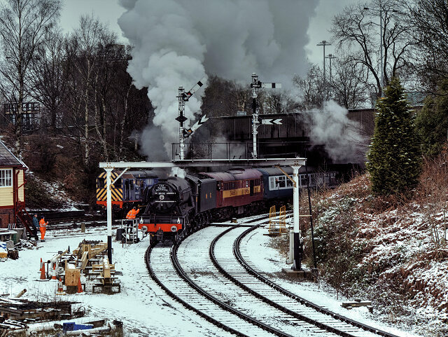 The Flying Scotsman this past January, out on a private test run in Bury South Junction.