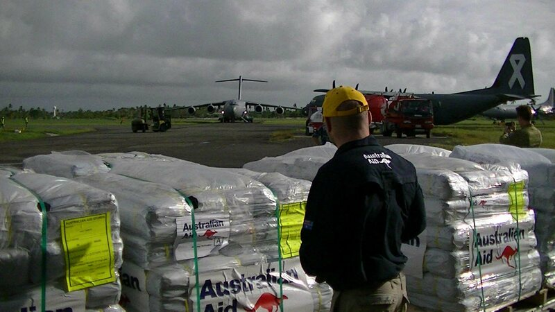 Humanitarian supplies being loaded into MHR90s for transport to Koro island Date26 February 2016