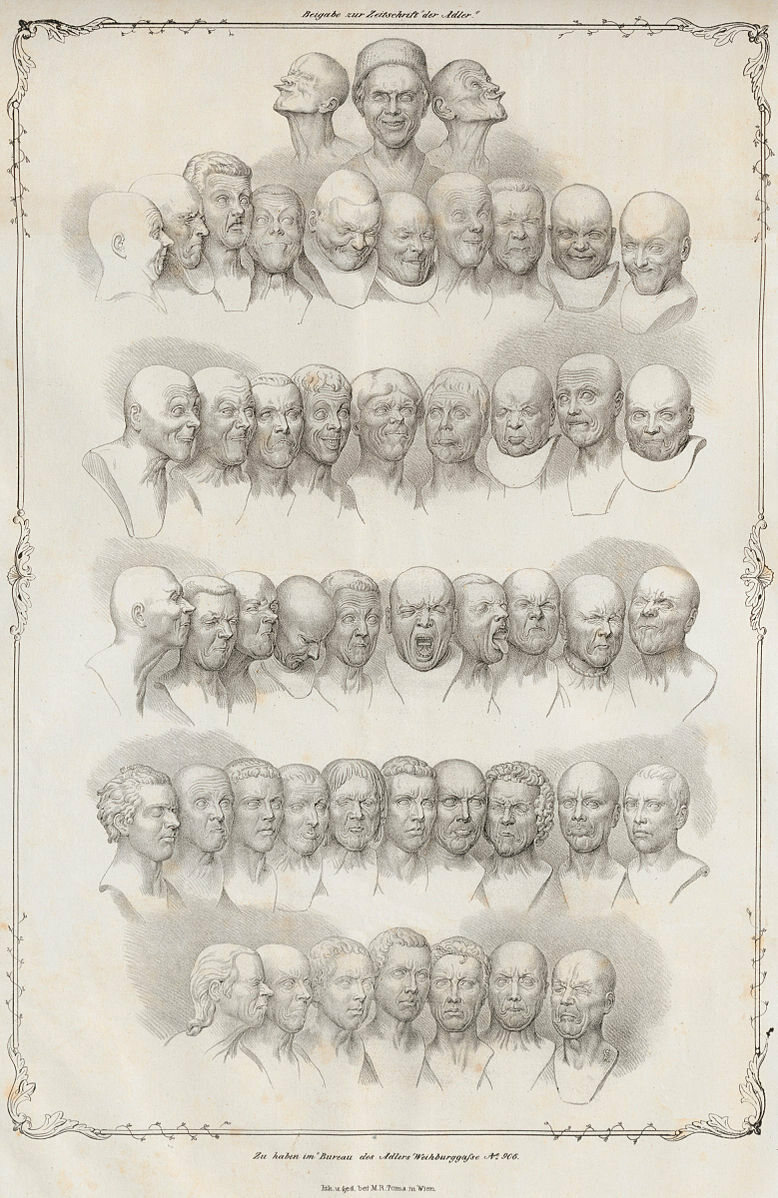 A lithograph showing 49 of the character heads, made by Matthias Rudolph Toma in 1839.