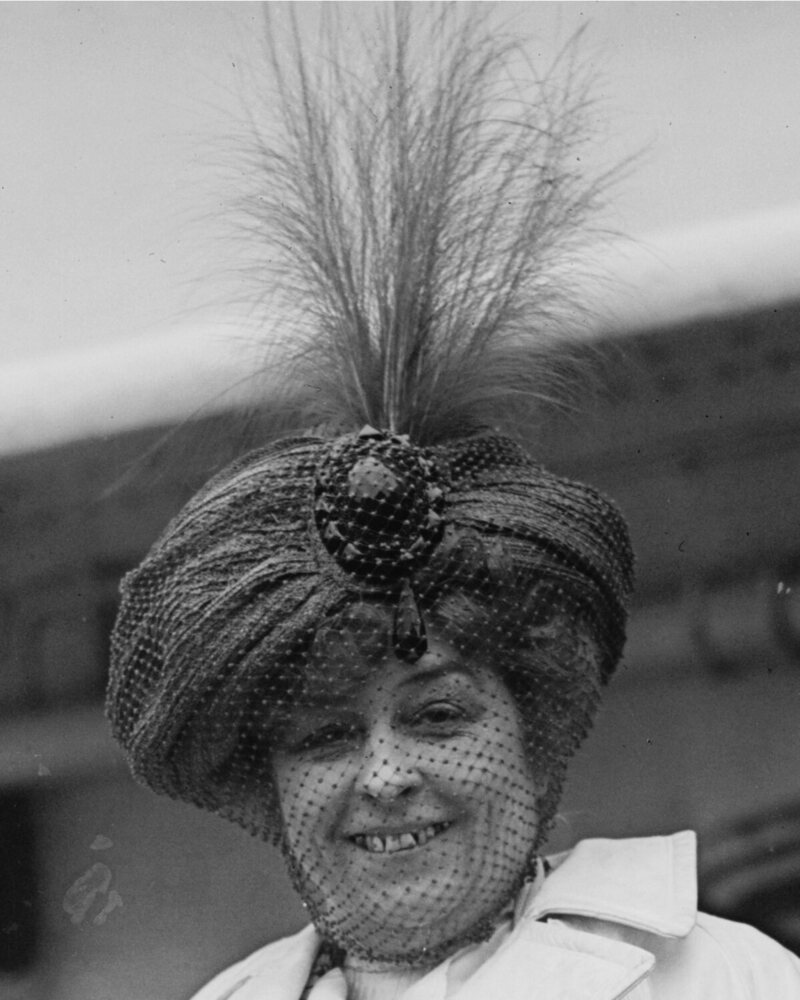 Amelia Bingham (1869-1927), American actress, wearing turban-style hat with feathers and veil in 1910.