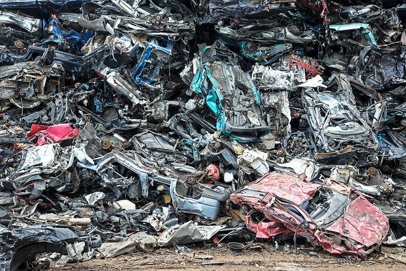 #149 - Dismantled automobiles waiting to be shredded.