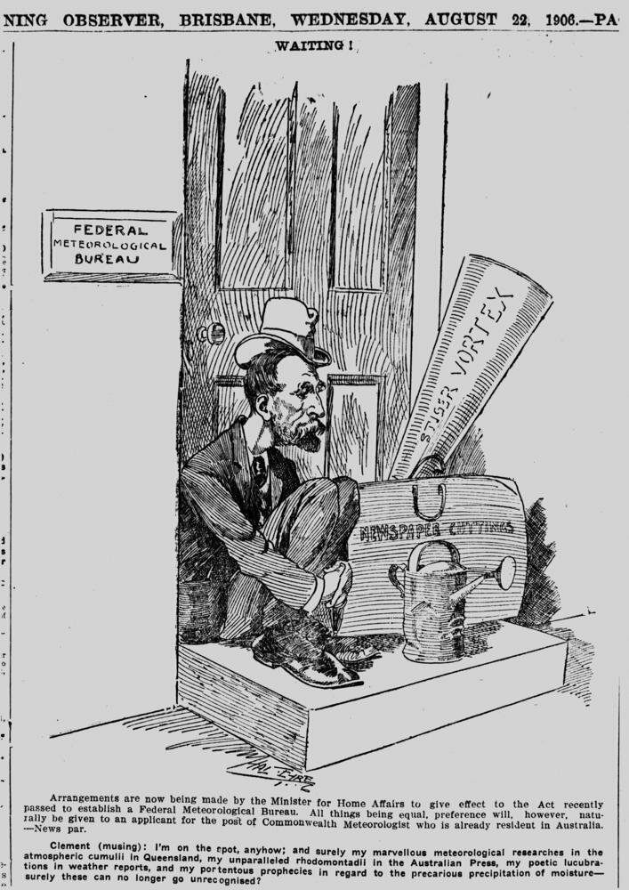Cartoon of meteorologist, Clement Wragge, 1906