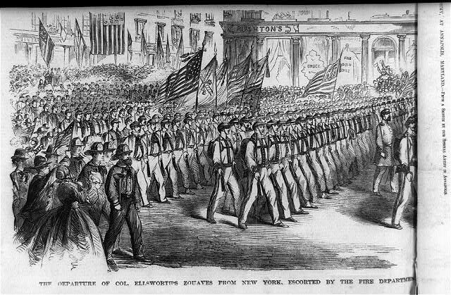 Ellsworth's Zouaves marching triumphantly out of New York.