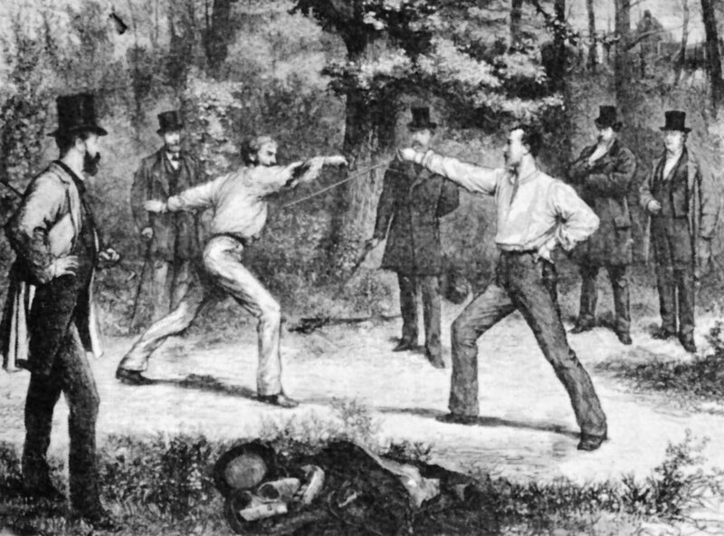 Fencers dueling near Paris in 1874. The French were instrumental in popularizing duels in America.