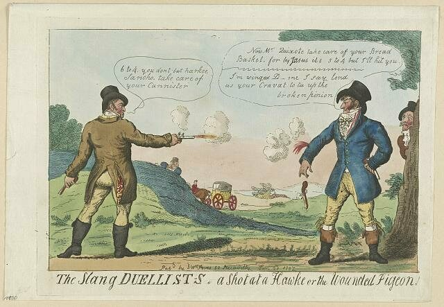 An cartoon illustration of a late 18th century British duel.