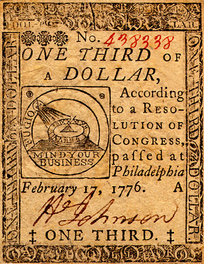 A continental 1/3 dollar note from 1776