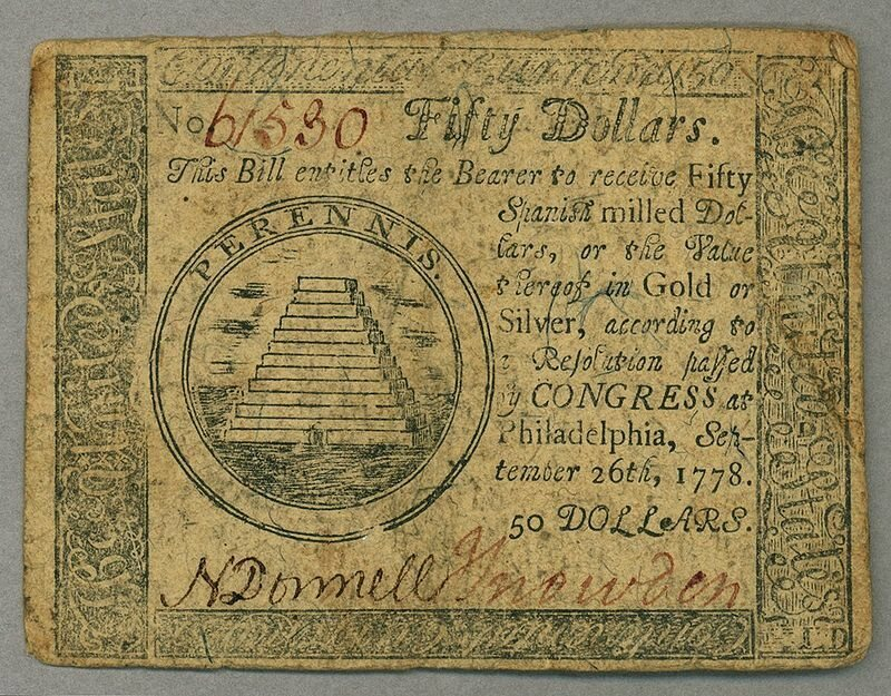 Continental $50 bill from 1778