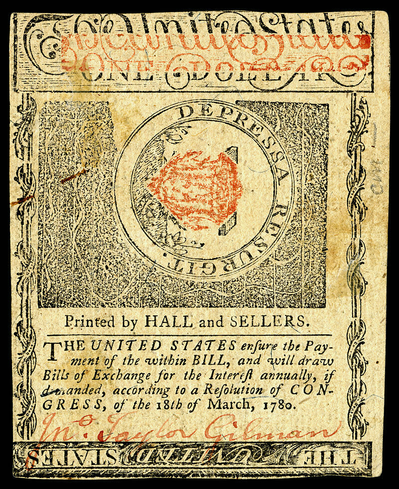 $1 Colonial bill from New Hampshire.