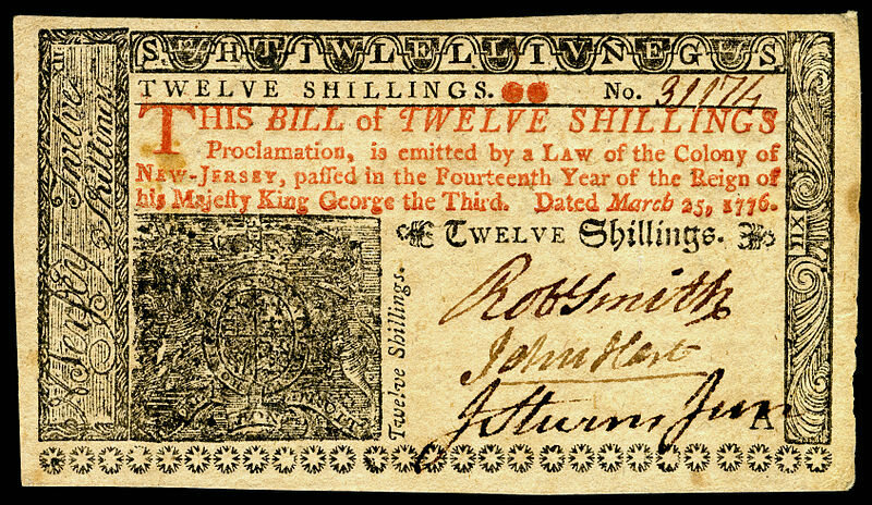 A 12 shilling note from Colonial New Jersey (front side)