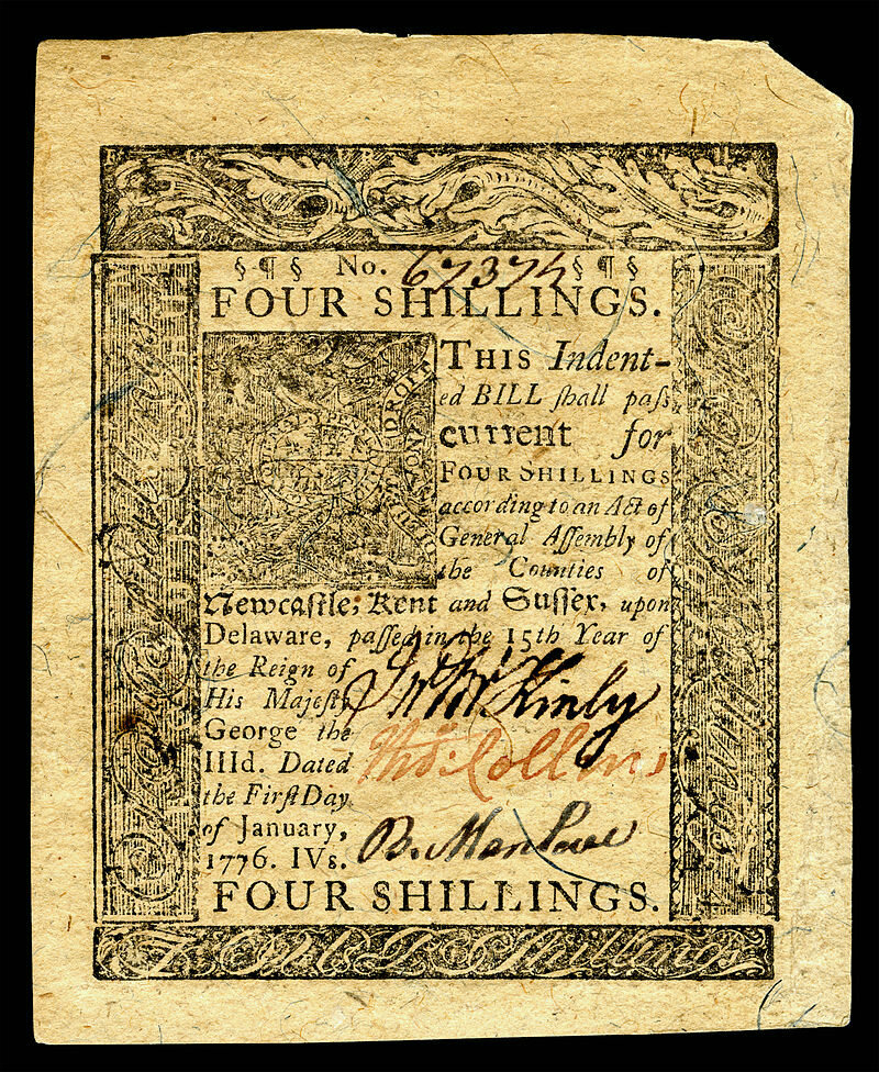 A four shilling note from colonial Delaware (front side)