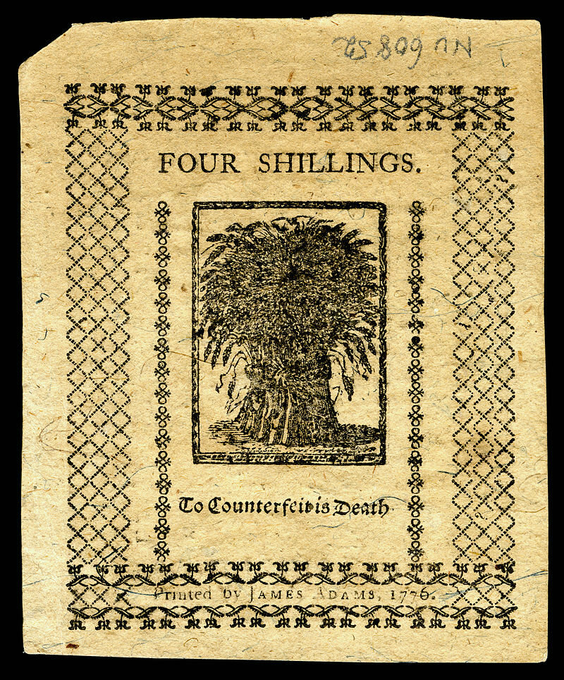 A four shilling note from colonial Delaware (back side)