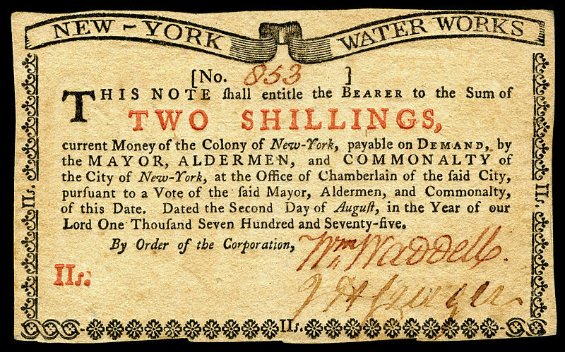 A two shilling note from colonial New York (front side)