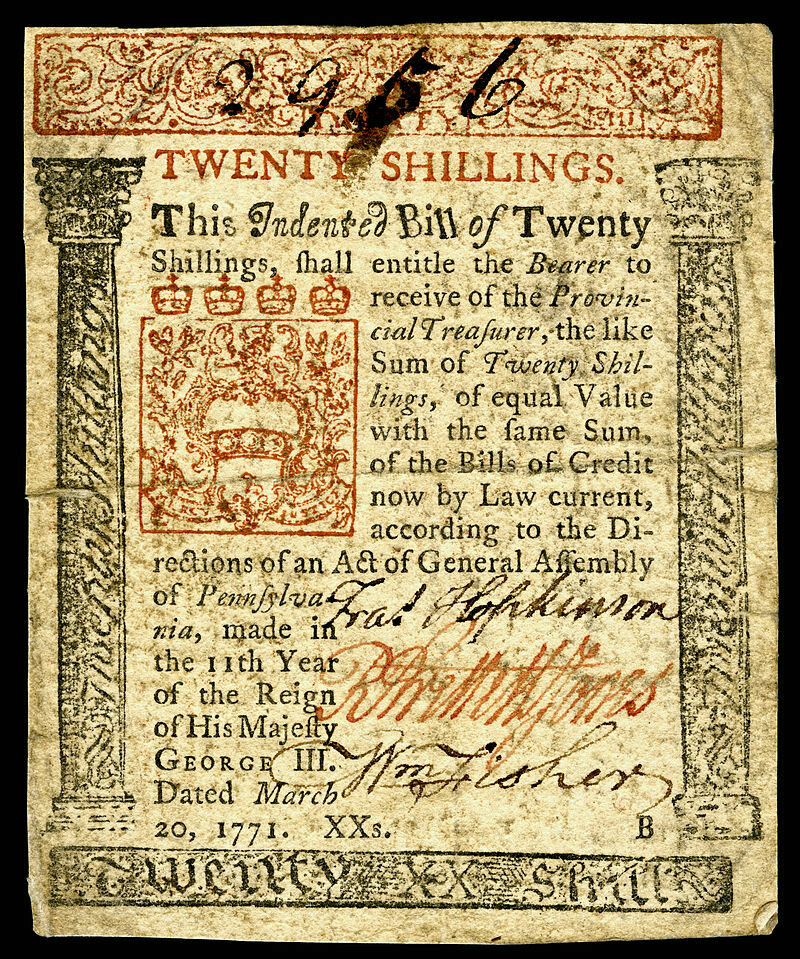A 20 shilling note from Colonial Pennsylvania (front side)
