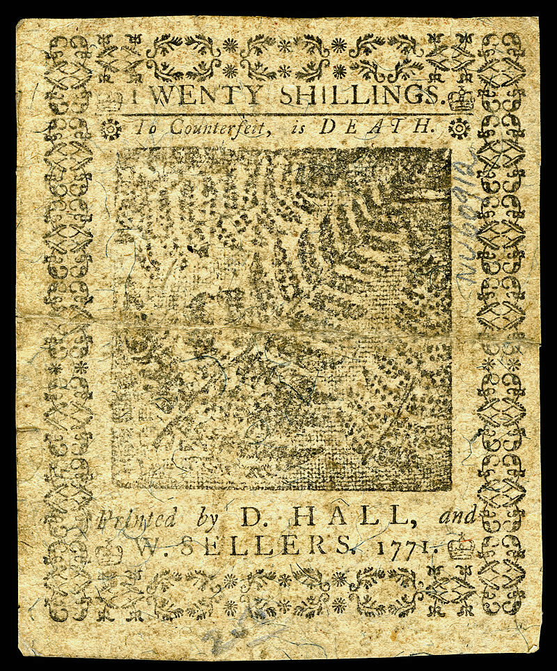A 20 shilling note from Colonial Pennsylvania (back side)