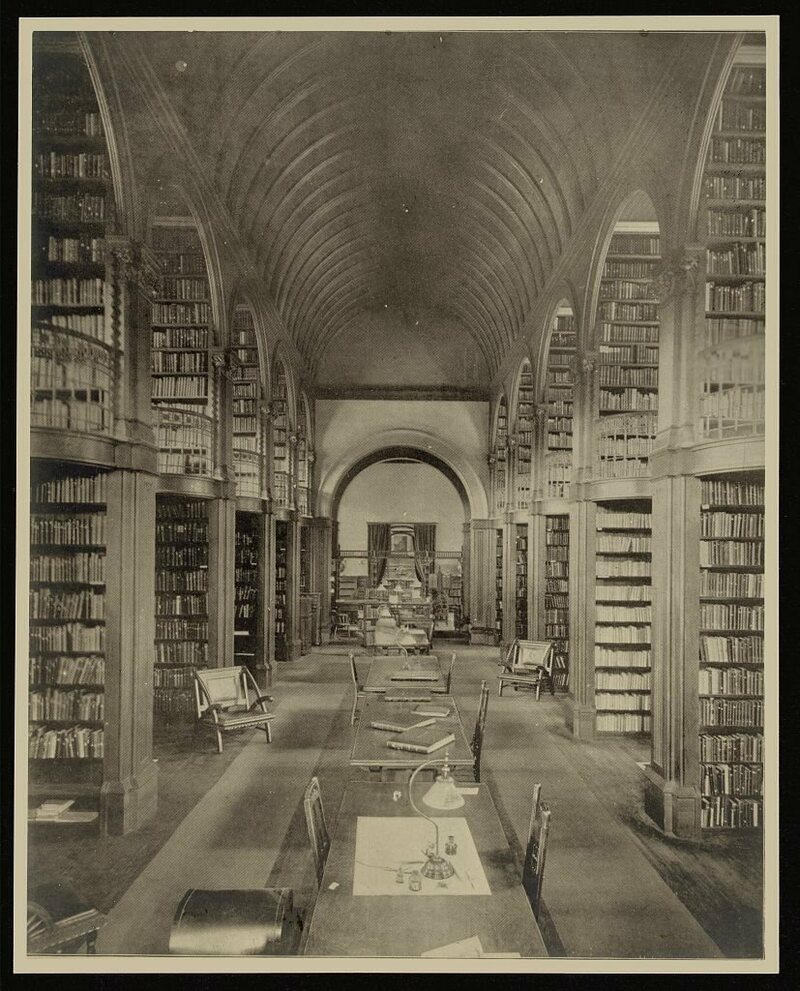 the hushed interiors of 19th century libraries