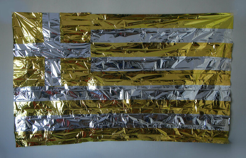 """Emergency Thermal Blanket,"" by Dionisis Christofilogiannis, recreates the Greek stripes and cross using space blankets."