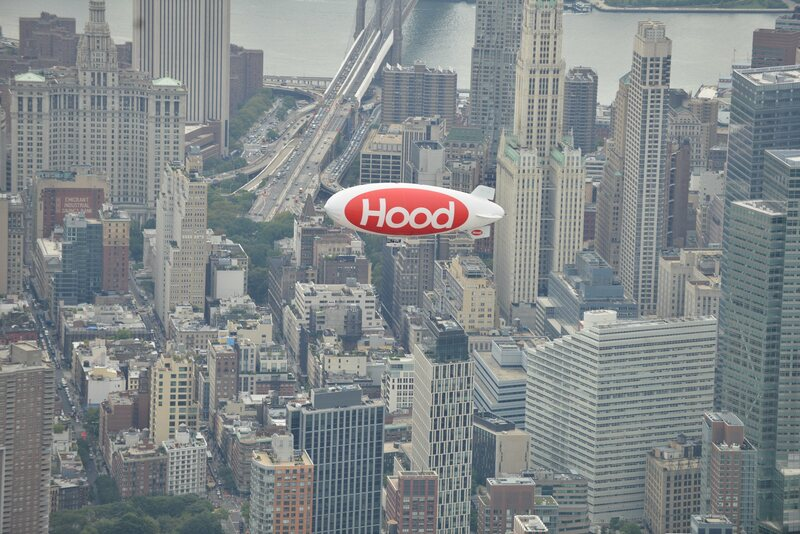 The Hood Blimp delivers a splash of color to its home city.