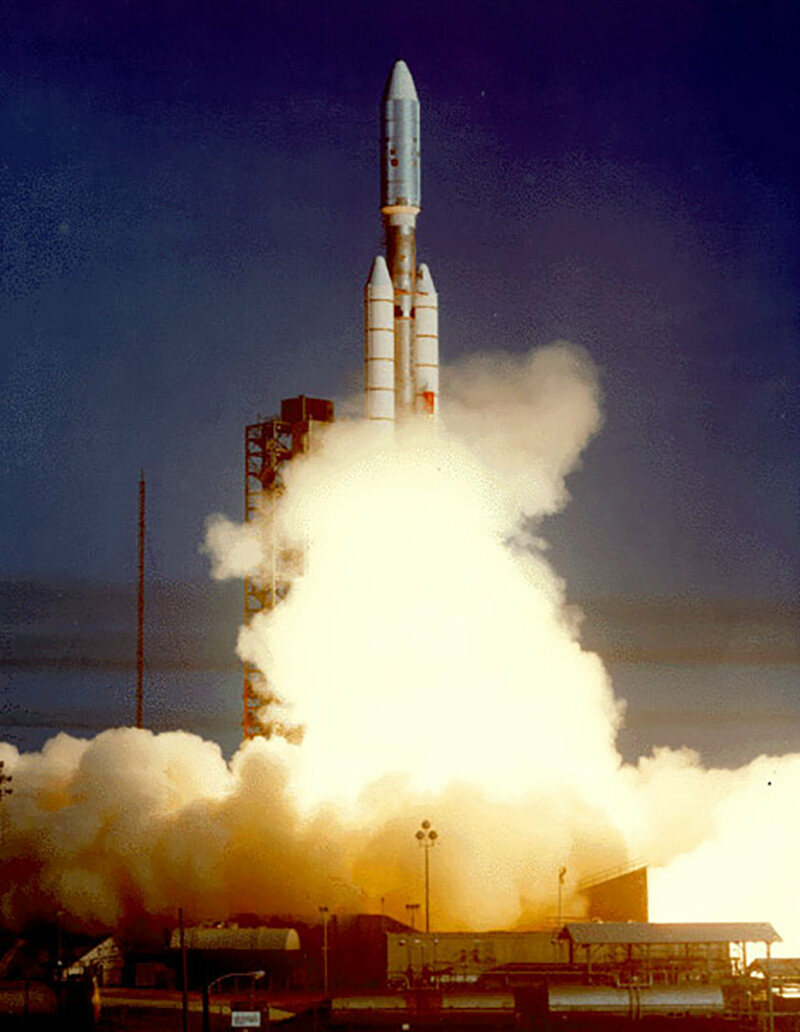 Voyager 2 launched on August 20, 1977, from Cape Canaveral, Florida aboard a Titan-Centaur rocket. On September 5, Voyager 1 launched, also from Cape Canaveral aboard a Titan-Centaur rocket.