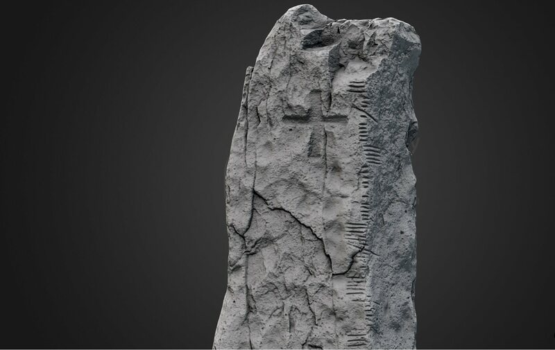 "A 3-D scan of the Ballymorereagh Ogham stone. The inscription translates to ""Cellach son of Mac-Áine."""