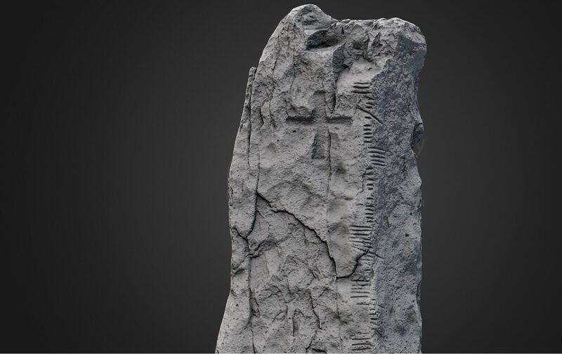 "A 3-D scan of the Ballymorereagh Ogham stone. The inscription translates to ""Cellach son of Mac-Áine."""