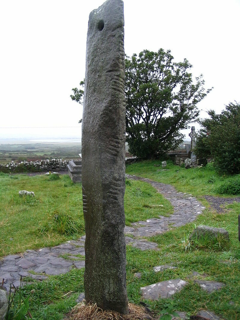 "An Ogham stone at Kilmalkedar. This one commemorates ""Máel-Inbher, son of Broccán."""