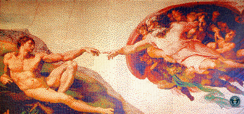 "Over 12,000 cubes comprise this mosaic of Michelangelo's ""The Hand of God"" in ""Creation of Adam."""