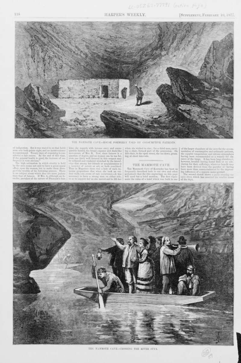 Henry Duff Linton's Harper's Weekly engraving The Mammoth Cave - House Formerly Used by Consumptive Patients, 1877. (Photo: Library of Congress/LC-USZ62-119566)