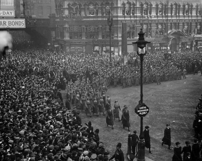 The Women's Army Auxiliary Corps marching in London at the end of World War I, 1918