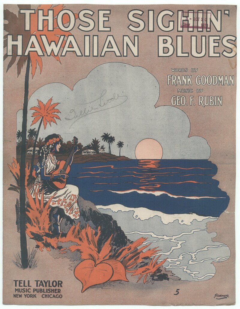 This sheet music cover from 1916 hits all the faux-Hawaii marks.
